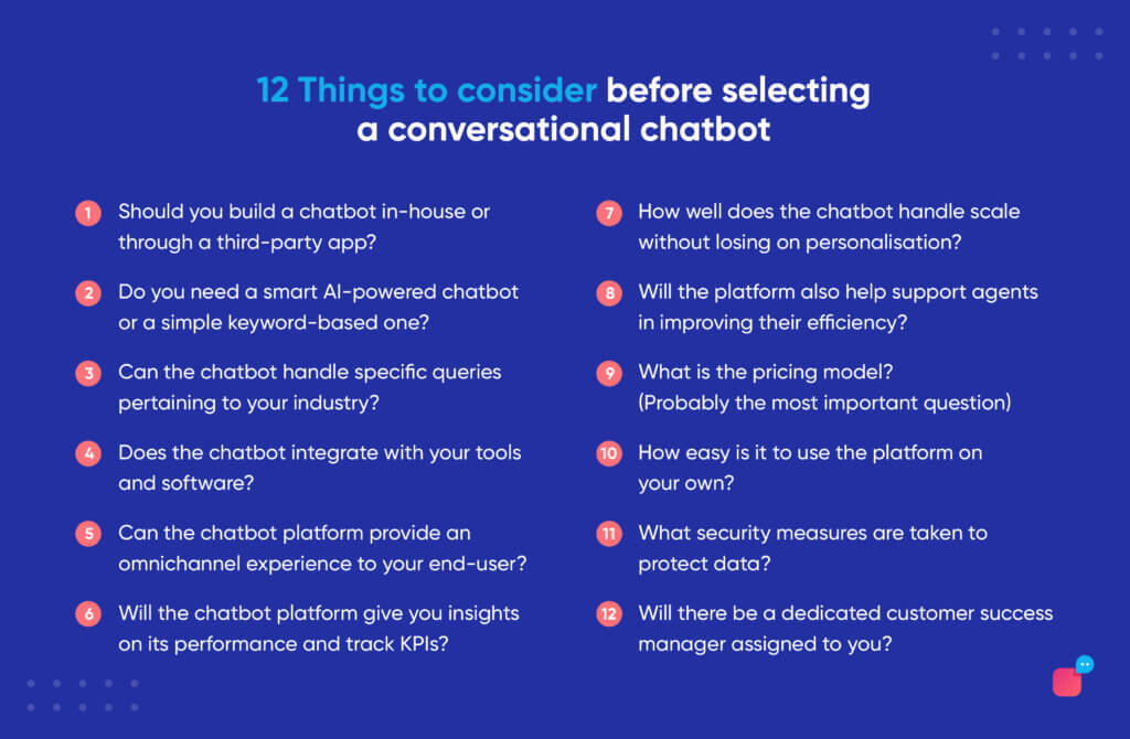 infographic on how to select a conversational ai