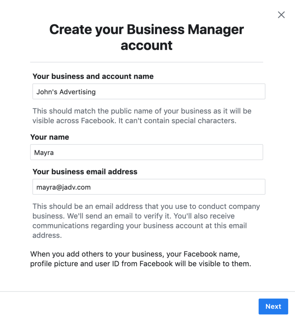 steps to create business manager account