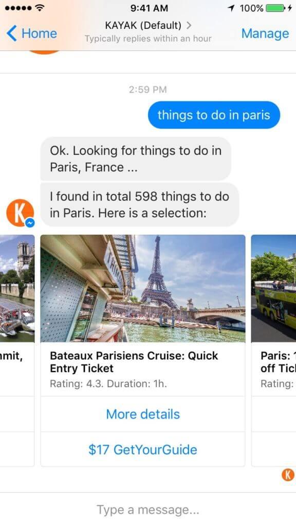 Kayak's chatbot on FB