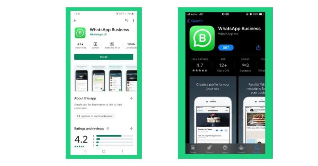 whatsapp business app android apple store