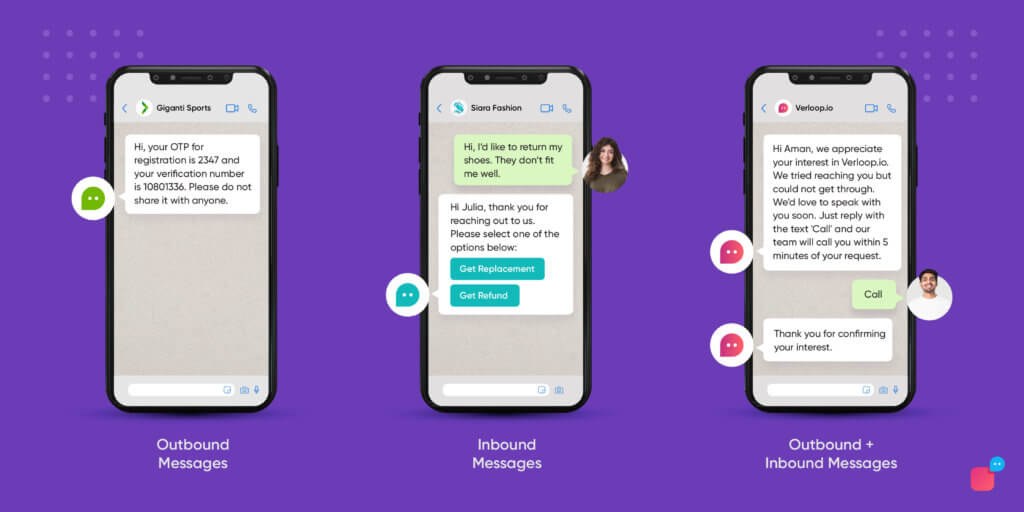 inbound and outbout messages on whatsapp