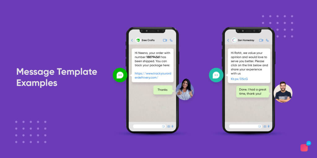 examples of outbound messages on WhatsApp